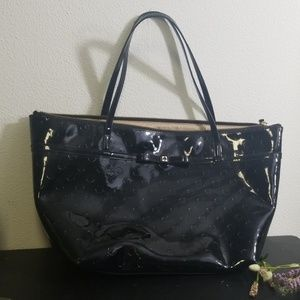 Kate Spade black shiny large tote bag